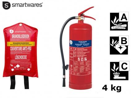 Set: Feuerlöscher / Pulverlöscher 4kg, Brandklasse ABC + Löschdecke, Brandschutz