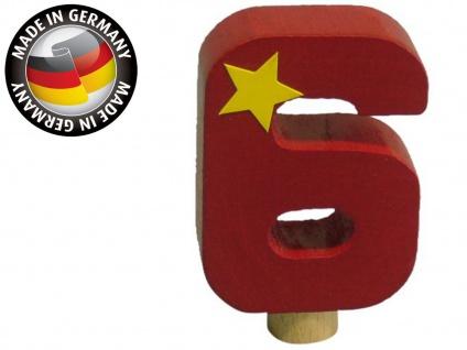Geburtstagszahl 6 für Niermann Kerzenhalter, Holz, Happy-Zahl Geburtstag Kinder