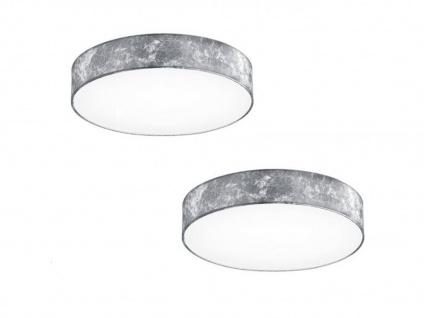 2er Set Trio LED Deckenlampe LUGANO 30cm Stoff silberfarben, Lampe Wohnraum Flur - Vorschau 2