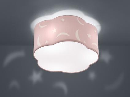 Runde Deckenleuchte Ø40cm mit Stoffschirmin in pastell Rosa Design Mond + Sterne