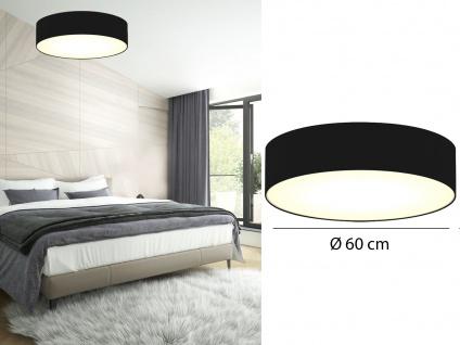Deckenleuchte mit Stoff Lampenschirm Schwarz 60cm Textil Deckenlampe Stoffschirm