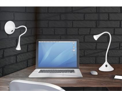 Flexible 2in1 Tischleuchte & Wandleuchte biegsam in Weiß Schreibtischlampe Büro