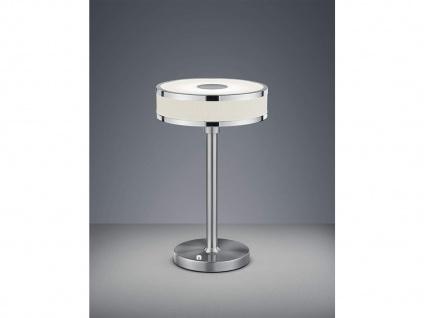 LED Tischleuchte dimmbar, Metall in Nickel matt Schirm aus Stoff & Acryl in weiß - Vorschau 1