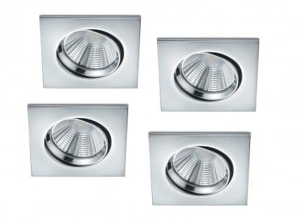 4er Set LED Einbaustrahler Decke eckig schwenkbar dimmbar Chrom glänzend 5, 5W