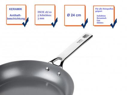 Edelstahl Bratpfanne mit Keramik Antihaftbeschichtung Ø24cm Induktion geeignet - Vorschau 4