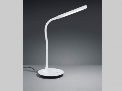 Coole LED Arbeitsleuchte in weiß matt mit Flexarm + 4fach Touch Dimmer 41cm hoch