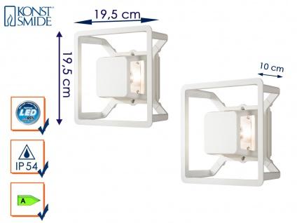 2er Set LED Außenwandleuchte Alu weiß IP54 3W Fassadenbeleuchtung Wegeleuchte