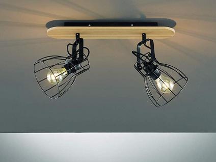 2flammiger Vintage Deckenstrahler mit dimmbarer LED, Gitterlampe schwarz / Holz