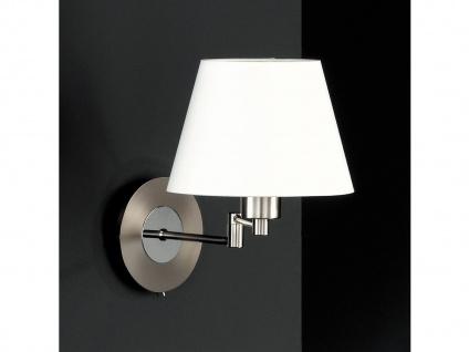 LED Wandleuchte Bettlampe Silber mit Schalter & Lampenschirm Stoff verstellbar