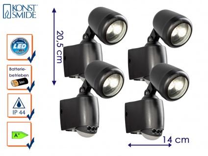 4er-LED Wandaufbauleuchte Wegeleuchte PRATO Bewegungsmelder batteriebetrieben