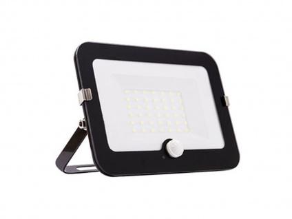 30W LED Strahler schwarz, Fluter mit Bewegungsmelder, flaches Design, IP44