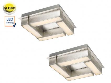 2er Set LED Deckenleuchten PACO 30x30cm Stoff silber, Deckenlampen Wohnraum Flur