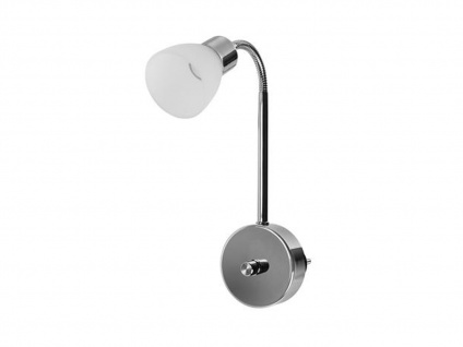LED Plug In Nachtlicht mit Stecker, Drehdimmer, flexiblem Arm & Glasschirm chrom