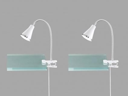 2er SET LED Klemmlampen flexibel Schwanenhalsleuchten in weiß Schreibtischlampen