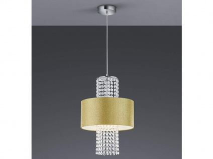 LED Pendelleuchte mit rundem Textilschirm Ø30cm Gold glitzernd, Acryl Kristallen