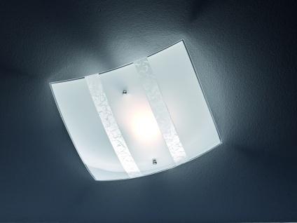 LED Deckenlampe dimmbar 30x30cm satinierter Glas Lampenschirm in weiß mit silber