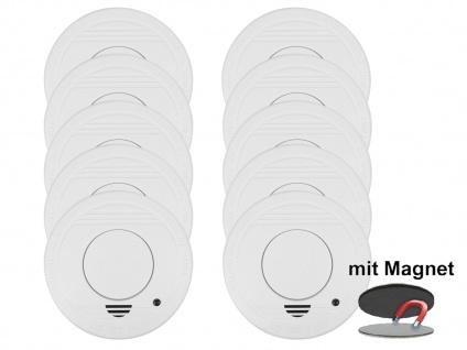 10er-Set Rauchmelder mit 1 Jahres Batterie - Stummschaltfunktion + Magnethalter - Vorschau 2