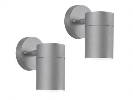 2er-Set Aluminium Downlight Wandleuchten MODENA grau GU10, Höhe 13cm