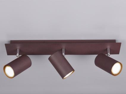 Dimmbarer LED Deckenstrahler für Innen mit 3 schwenkbaren Spots aus Metall Rost
