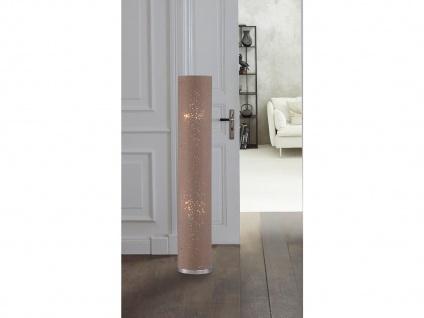 LED Stehleuchte Chrom mit Lampenschirm Stoff braun, E14 Stehlampe Standleuchten
