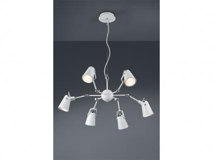 Edle LED Pendelleuchte in weiß matt aus Metall mit 6 Strahlern - Esstischlampen