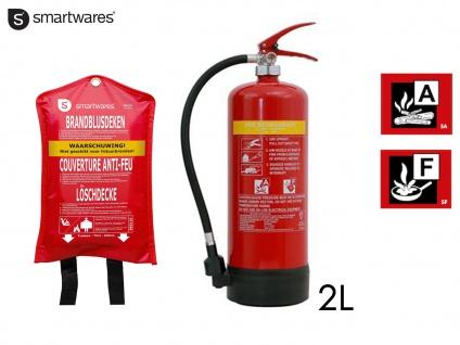 Set: Feuerlöscher Fettbrandlöscher 6L, Brandklasse AF + Löschdecke Brandschutz