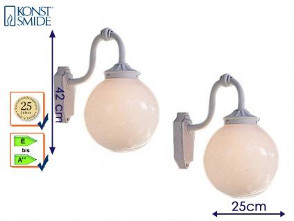 2er Set Konstsmide Außenwandleuchte ARCTURUS weiß Kugel opal, Leuchte Hauswand