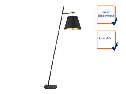 Ausgefallene LED Stehlampe mit STOFF Schirm höhenverstellbar in schwarz/gold E27 - Vorschau 3