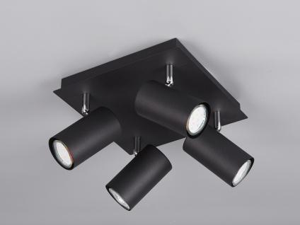 Schwenkbare 4 Spot Deckenlampe - LED Bürolampe, Wohnraumleuchte in Schwarz matt
