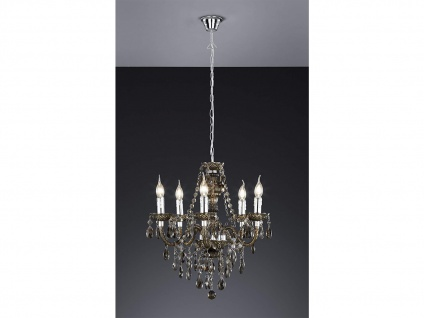 LED Kronleuchter 5 flammig dimmbar Ø52cm mit schwarzem Kristall Behang aus Acryl