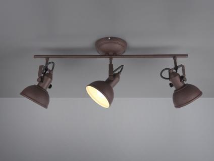 LED Deckenstrahler 3 flammig im Retro Look aus Metall in Rost dreh + schwenkbar