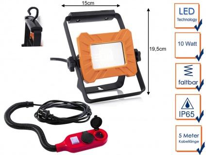 Tragbarer 10Watt LED Baustrahler mit Verlängerungskabel, Arbeitsleuchte Baulampe
