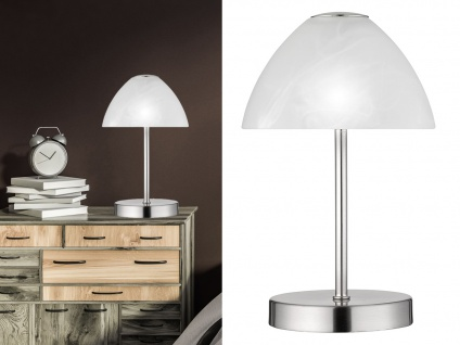 LED Tischleuchten 2er SET Metall 4-fach Touch Dimmer Silber matt, 24cm hoch