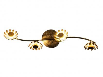 Vierflammige florentiner Blumen Motiv LED Deckenleuchte aus Metall in Blattgold - Vorschau 2