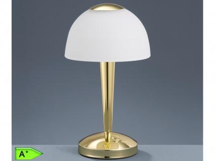 LED-TOUCH-Tischleuchte, 1x5W, 4-Fach Touchfunktion, Messing Glas weiß