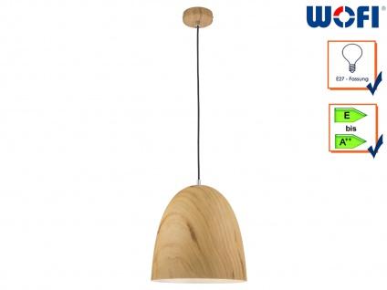 Pendelleuchte Schirm Holzoptik, Ø 31cm, Hängelampe Hängeleuchte Pendel Esstisch