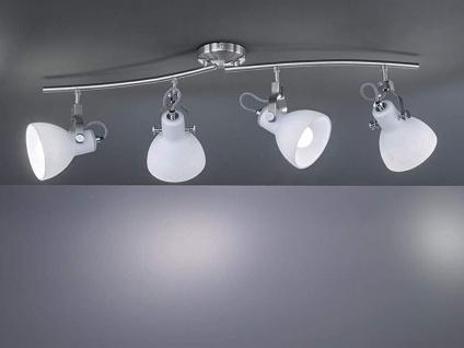 4-fl. Strahler mit dreh+ schwenkbaren Spots in Nickel matt weiße Glasschirme