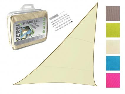 Sonnensegel Dreieck Creme 5m mit Stangenset für den Garten UV Sonnenschutzsegel