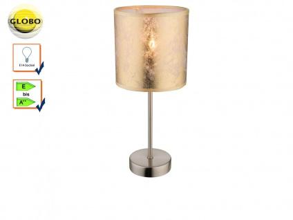 Design Tischlampe AMY Lampenschirm Stoff gold 15cm, Wohnzimmerlampe Tischleuchte