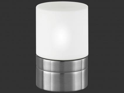 TRIO Tischlampe TOUCH-ME, E14, Ø 9cm, Nickel matt, Glas opal weiß
