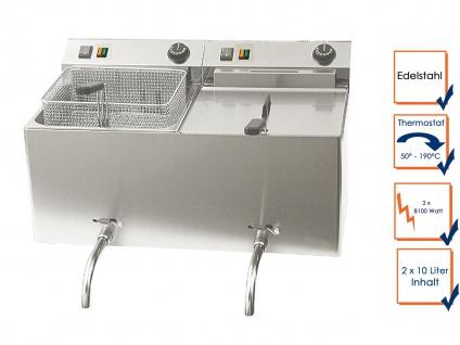 Gastro Doppel Fritteuse 2x 10L Ablasshahn, Elektro Edelstahl Fritteuse Friteuse