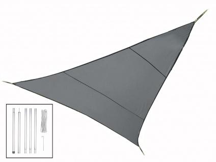 Sonnensegel Dreieck Dunkelgrau 5m mit Stangenset, Sonnenschutzsegel Terrasse