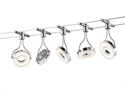 TRIO Deckenleuchte Seilsystem 5 LED Spots Chrom Silber 5 Meter Länge, Lampen