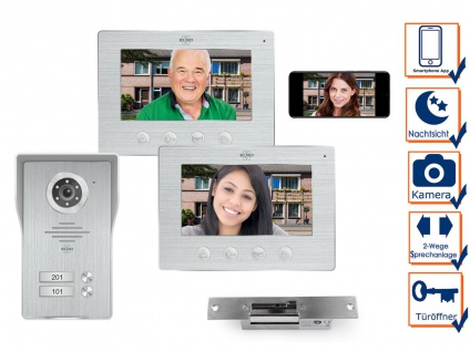 IP Türsprechanlage mit Kamera und Türöffner, Video Türklingel für 2 Familienhaus