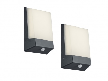 2 Eckige LED Außenwandlampen aus Aluminium in Anthrazit, inkl. Dämerungssensor