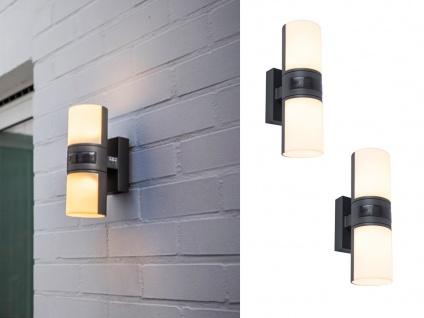 LED Up and Down Wandlampen 2er SET für außen mit Zylinderköpfen drehbar & Sensor