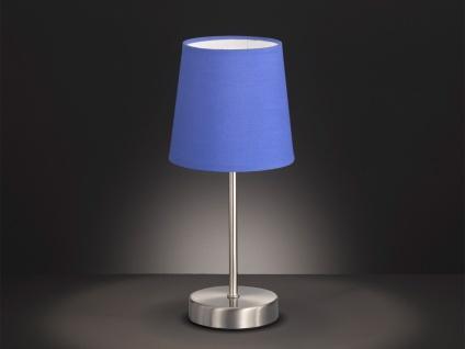 Design LED Nachttischleuchte Lampenschirm Stoff rund blau matt Ø14cm - Flurlampe