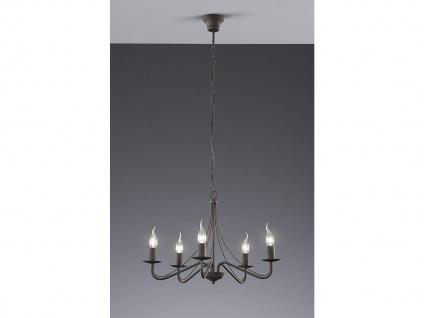 LED Kronleuchter 5 flammig aus rostfarbigem Metall für hohe Räume Esstischlampe - Vorschau 3