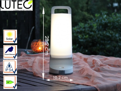Universal LED Solarleuchte mit USB Ladefunktion dimmbar IP54 H. 28, 2cm Weiß