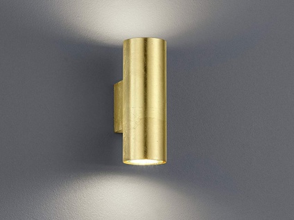Trendige LED Wandleuchte in gold foliert 16, 5cm Ø6cm, Up & Down Dielenleuchte